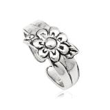 """Hopeinen Säädettävä Varvassormus """"925 Silver Oxide Summer Flower"""""""