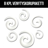 "Venytyskoru Starter Kit 2 mm - 8 mm Spiral ""White""  6 kpl"