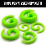 "Venytyskoru Starter Kit 1,6 mm - 10 mm Spiral ""Neo Green""  8 kpl"