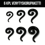 "Venytyskoru Starter Kit 3 mm - 10 mm S-Spiral ""Black""  6 kpl"