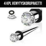 "Ventyskorupaketti ""4 kpl Prong Gem 316L Surgical Steel Taper"""