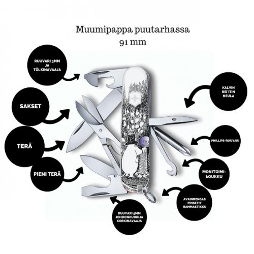 Victorinox linkkuveitsi Muumipappa puutarhassa 1.4703.7R-MU1