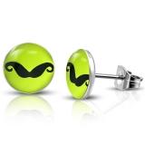 7mm Stainless Steel Mustache Lemon Green Circle Stud Earrings
