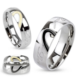 "Kirurginteräs Sormus ""Two Toned Half Heart with ""Real Love"" Engraved Ring"""