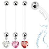 Napakoru Bio Flex Pregnancy Navel Ring with Heart Gem Dangle
