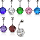 316L Surgical Steel Navel Ring with Prong Set Round CZ