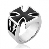 "Heavy Steel Jewelry-Sormus ""Black Iron Cross Ring Wih Lightning"""