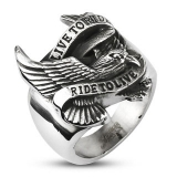 "Heavy Steel Jewelry-Sormus ""BIKER EAGLE 'LIVE TO RIDE RIDE TO LIVE'"