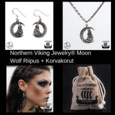 Northern Viking Jewelry® Moon Wolf Riipus + Korvakorut