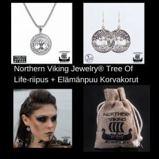 Northern Viking Jewelry® Tree Of Life-riipus + Elämänpuu Korvakorut