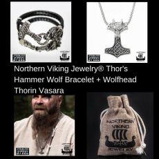 Northern Viking Jewelry® Thor's Hammer Wolf Bracelet +Wolfhead Thorin Vasara