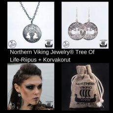 Northern Viking Jewely® Tree Of Life-Riipus + Korvakorut