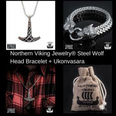 Northern Viking Jewely® Ukonvasara + Steel Wolf Bracelet
